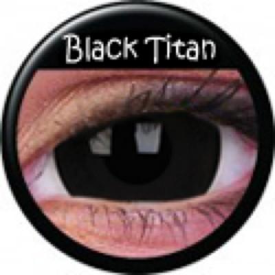 Mini-Sclera Black Titan ohne Stärke, (2 Linsen), 0 dpt